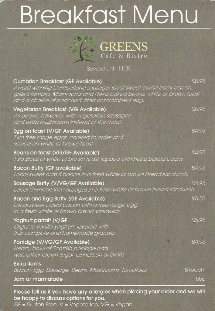 A picture of Greens Breakfast Menu